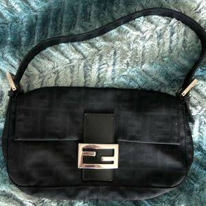 Authentic Fendi zucca baguette bag in black EUC